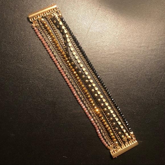 LOFT Jewelry - LOFT gold and black beaded layer bracelet